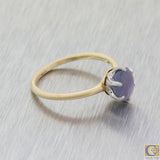 880s Antique Victorian Estate Platinum 18k Yellow Gold Purple Star Sapphire Ring A8