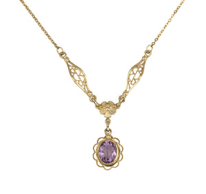 Antique Art Deco 14K Yellow Gold Filled 9x7mm Amethyst Drop Pendant Necklace