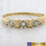1930s Antique Art Deco 14k Yellow Gold .05ctw Diamond 3mm Wide Band Ring C8