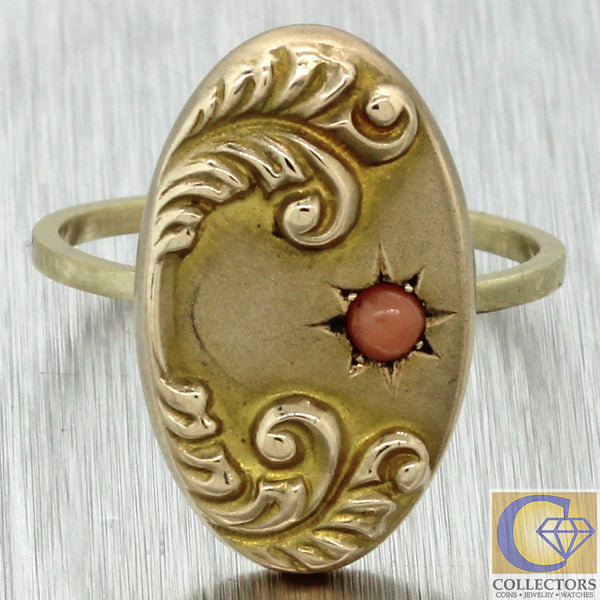 1880s Antique Victorian Estate 14k Yellow Gold Pink Coral Star Cocktail Ring