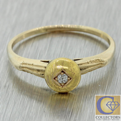 1880s Antique Victorian 14k Yellow Gold 0.04ct Diamond Ring