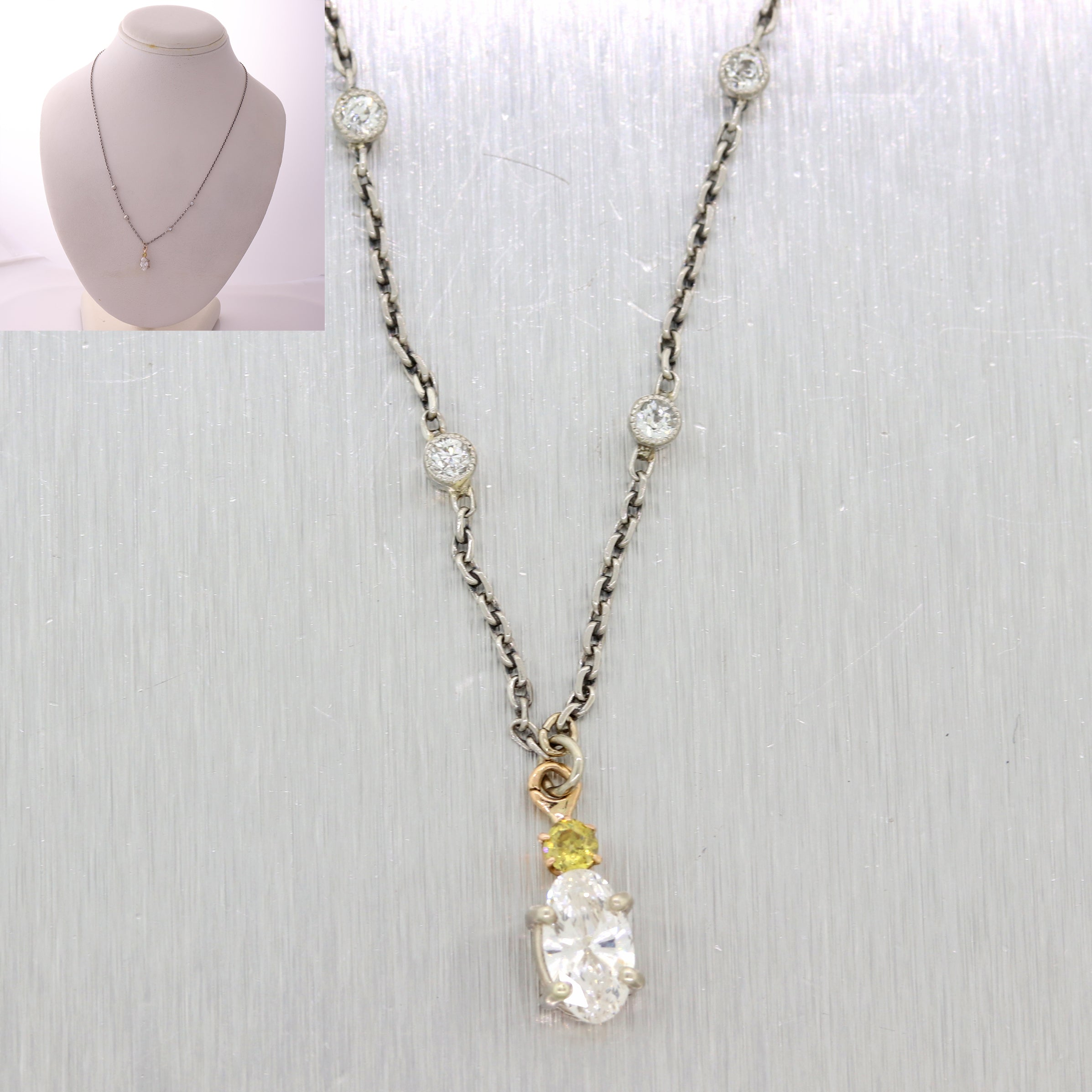 Vintage 18k White Gold .69ctw Oval Diamond Fancy Yellow Pendant Necklace N8