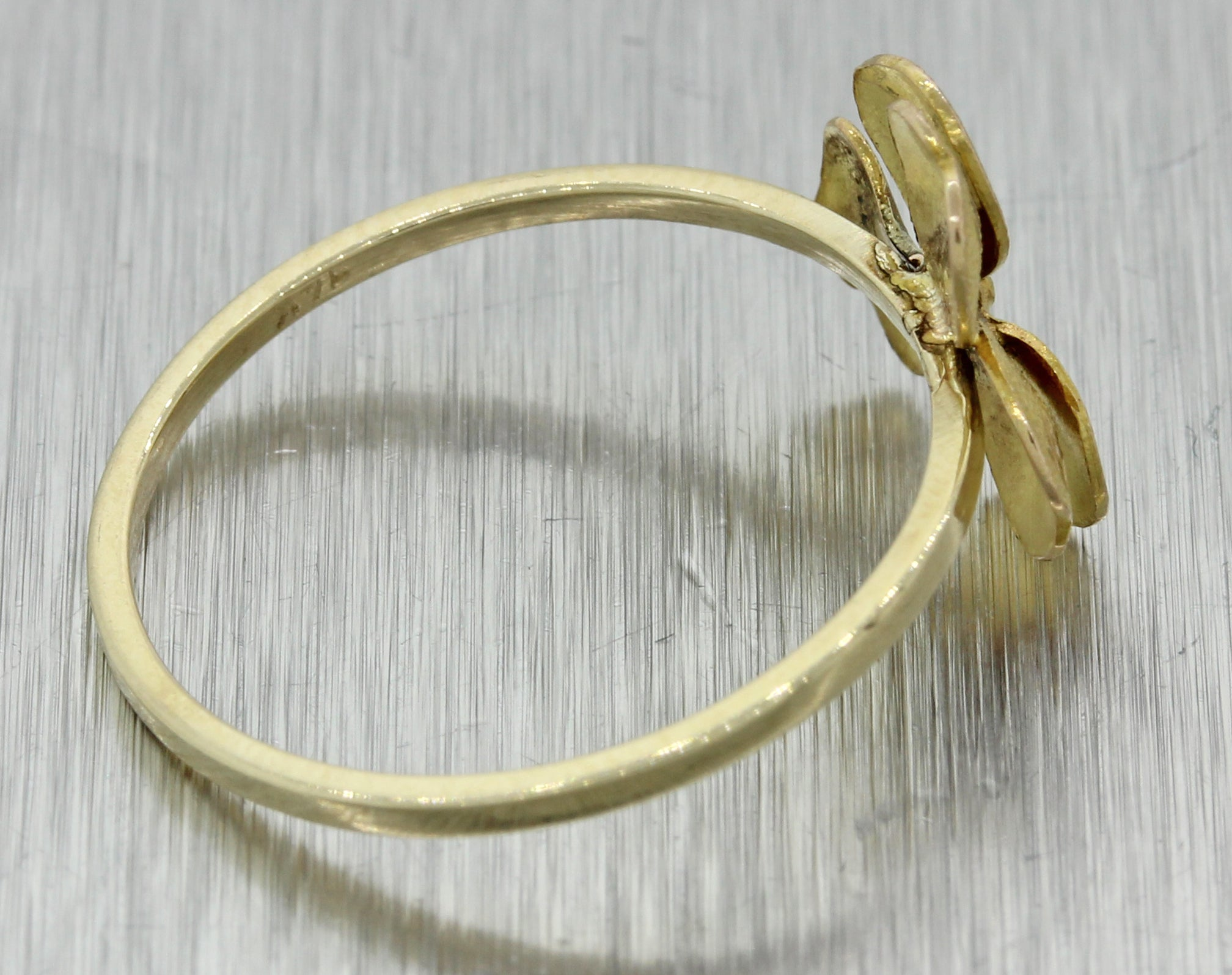 1930s Antique Art Deco 14k Solid Yellow Gold Flower Ring j8
