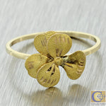 1930s Antique Art Deco 14k Solid Yellow Gold Flower Ring