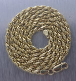 "Men's Modern Solid 14K 585 Yellow Gold 3mm Rope Chain 22.50"" Necklace 24.1g"