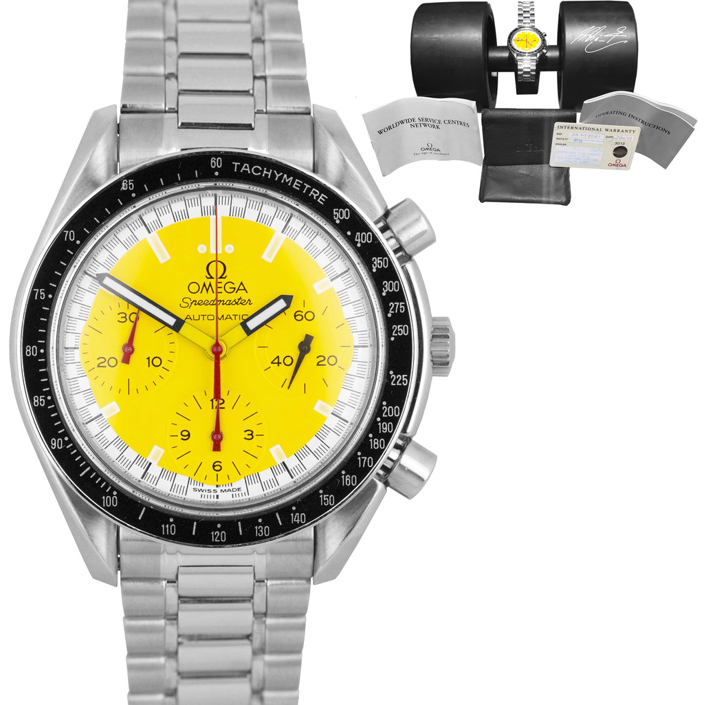 Omega Speedmaster Michael Schumacher Yellow Steel 39mm Chronograph Watch 3510.12
