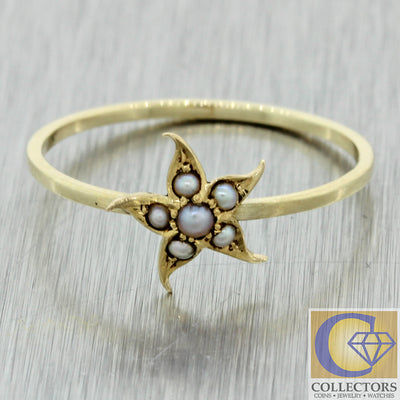 1880s Antique Victorian 14k yellow Gold Star Flower Seed Pearl Ring