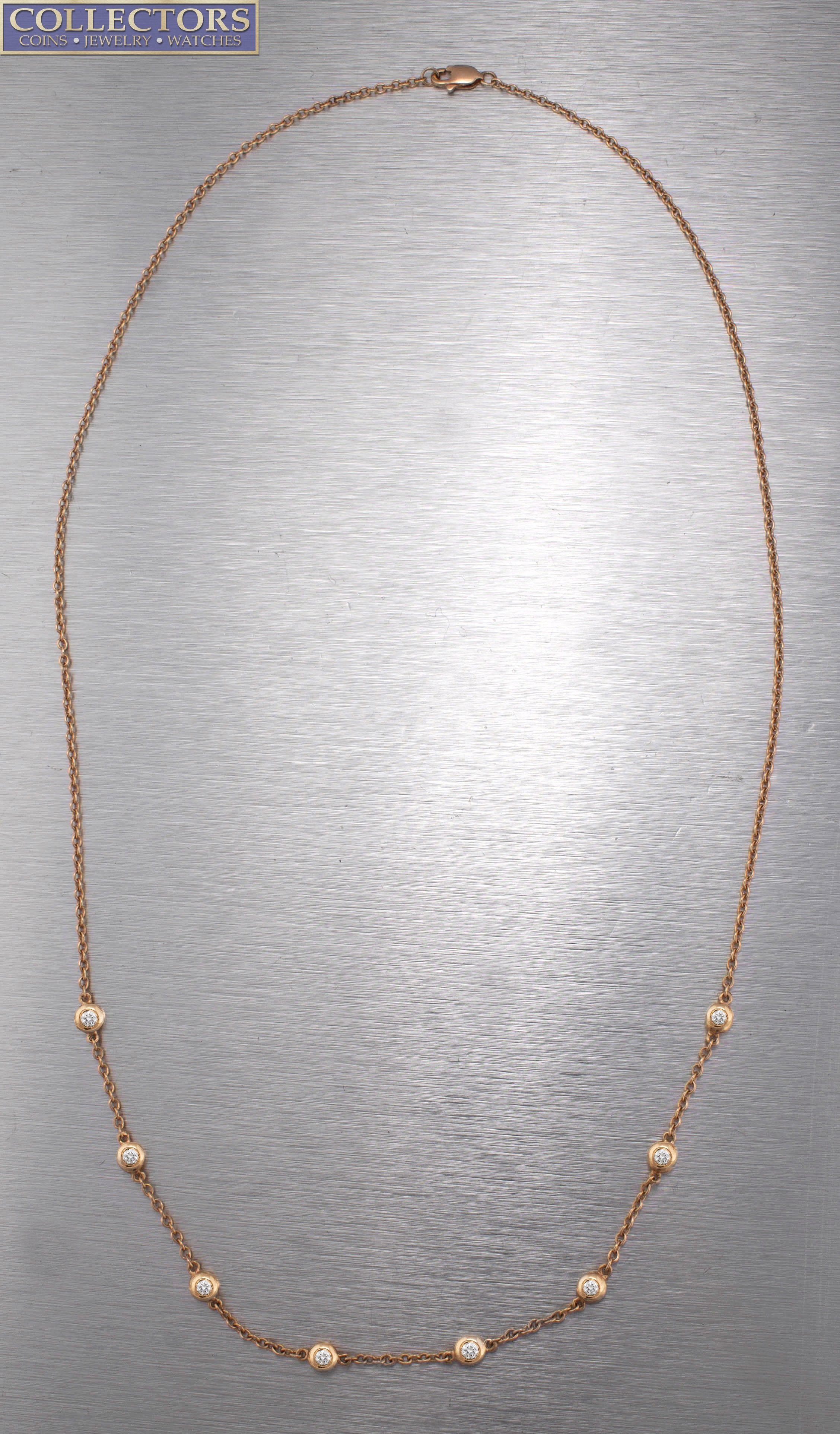 "Ladies Modern 14K Rose Gold 0.56ctw Diamonds By The Inch 19.00"" Station Necklace"