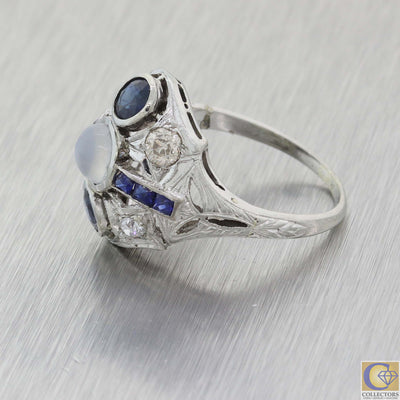 1930s Antique Art Deco 18k White Gold Moonstone Blue Saphhire Cocktail Ring A8