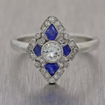 1930s Antique Art Deco Platinum .83ctw Diamond Sapphire Cocktail Ring
