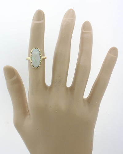 1880S Antique Victorian 14K Solid Yellow Gold Opal Oval Cocktail Ring j8