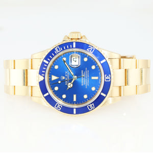 Rolex 16618 Submariner 18K Yellow Gold Blue Dial Oyster 40mm Watch 116618