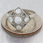 1920s Antique Art Deco Platinum .56ctw Diamond Sapphire Engagement Ring N8