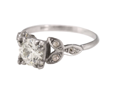 Antique Platinum 1.05 CT Transition Round Brilliant Diamond Engagement Ring EGL