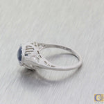 1930s Antique Art Deco 18k White Gold .75ct Natural Blue Sapphire Engagement Ring A8
