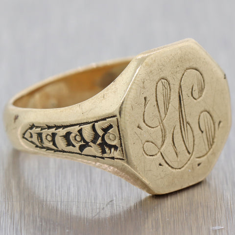 1880s Antique Victorian Estate 14k Yellow Gold Mens Signet Ring US 10.5 N8