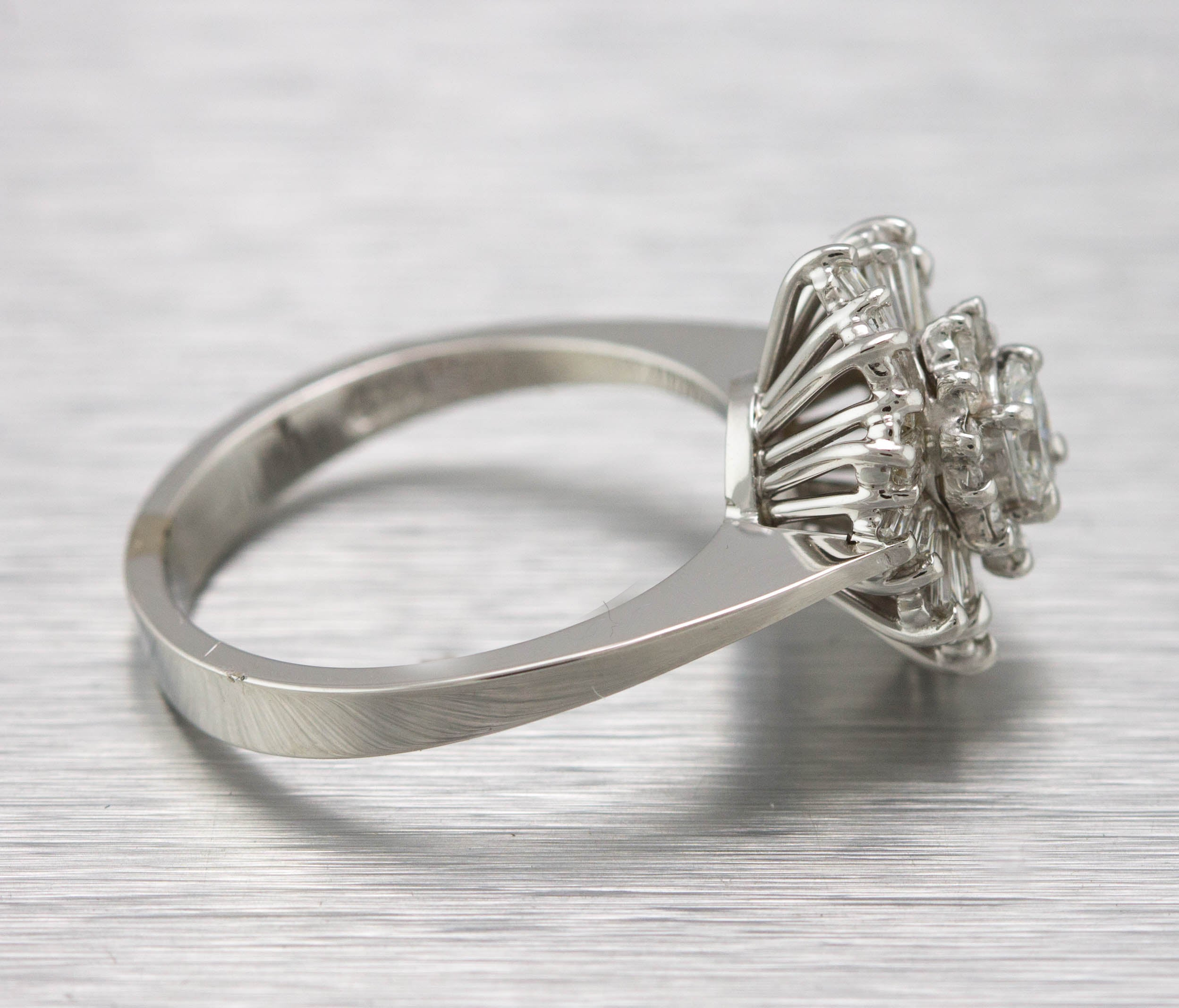 Ladies 14K White Gold 0.61ctw Baguette Cut Diamond Cluster Cocktail Ring