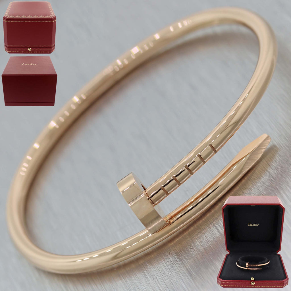 Authentic Cartier Juste un Clou 18k Rose Gold Nail Bracelet Size 17 Box $6800