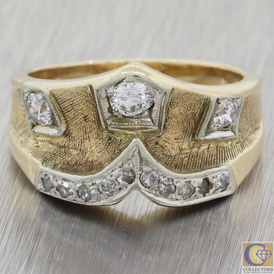 1930s Antique Art Deco 14k Yellow Gold .50ct Diamond Chevron Wide Band Ring A8