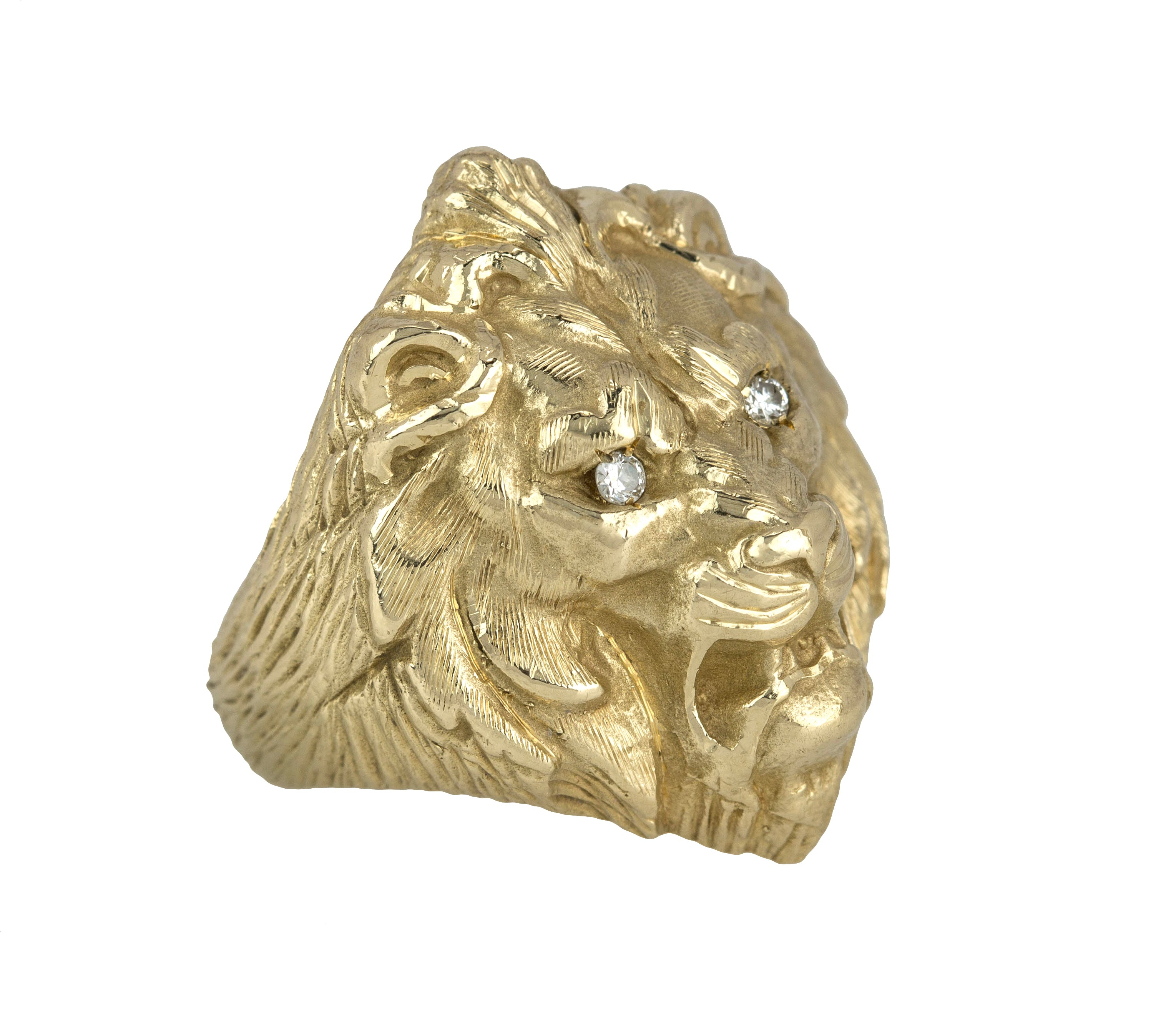Men's Vintage Estate Solid 14K Yellow Gold 0.06ctw Diamond Eyed Lion Head Ring