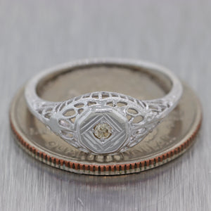 1930s Antique Art Deco Estate 14k White Gold .05ctw Diamond Solitaire Ring N8