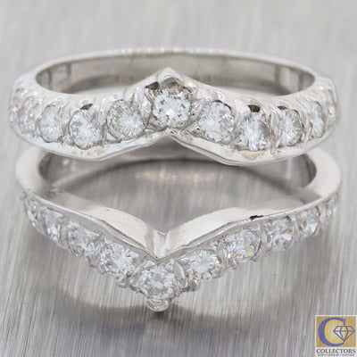 1930s Antique Art Deco 14k White Gold Diamond Insert Engagement Ring Guard A8