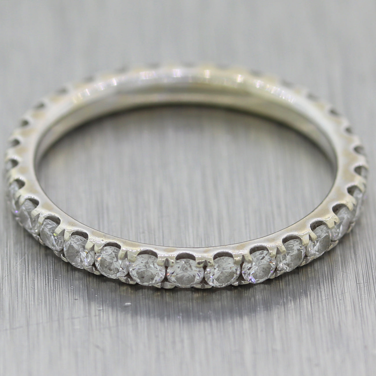 Modern 14k White Gold 1.15ctw Diamond Eternity Wedding Band Ring