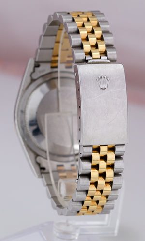 2003 UNPOLISHED Rolex DateJust 36mm Two-Tone Silver Diamond Jubilee Watch 16233