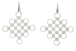 John Hardy Dot Sterling Silver Lava Chainmail Wide Hook Drop Dangle Earrings J8
