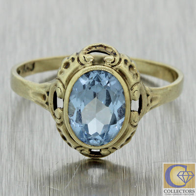 1920s Antique Art Deco 10k White Gold 1.00ctw Faceted Blue Glass Cocktail Ring J8