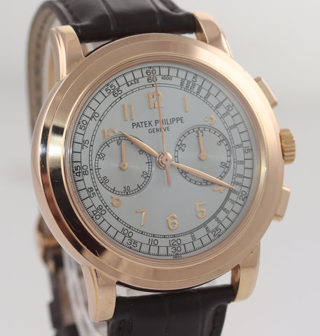 PAPERS Patek Philippe 42mm 5070R Chronograph Manual Wind Brown leather Watch Box