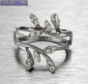Lovely Ladies 14K White Gold 0.48ctw Diamond Vine Insert Wrap Enhancer Ring
