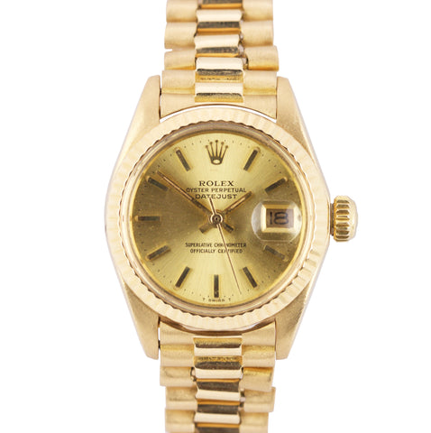 Ladies Rolex DateJust 6917 26mm 18K Solid Yellow Gold Oyster Watch President