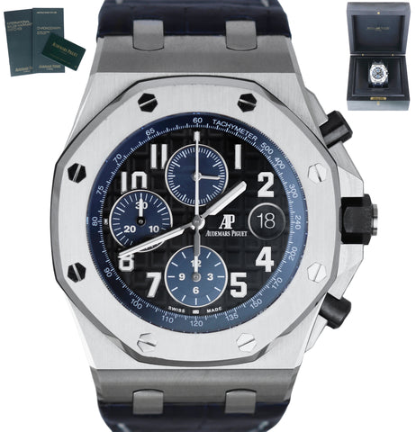 Audemars Piguet AP Royal Oak Offshore Blue Black Chrono 42mm Stainless 26470
