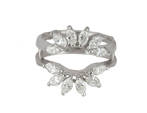 14K White Gold 1.08ctw Marquise Cut Diamond Enhancer Guard Wrap Insert Ring