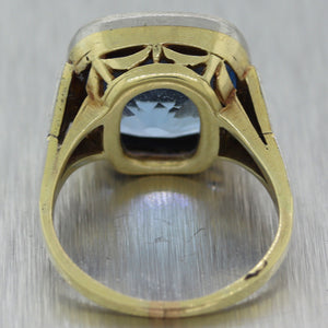 1930's Antique Art Deco Platinum & 14k Yellow Gold Synthetic Spinel Ring