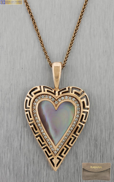 Ladies Kabana 14K Rose Gold Pink Mother of Pearl Heart 0.44ctw Diamond Necklace