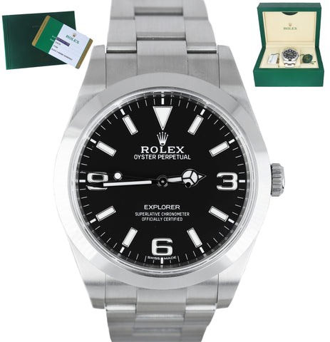 2019 UPOLISHED Rolex Explorer I Black 3-6-9 LUME Mark II 214270 Stainless 39mm