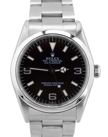 1999 Rolex Explorer I SWISS LUME U Black 36mm 14270 Stainless Steel Oyster Watch