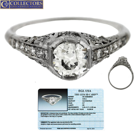 Ladies Antique Art Deco Platinum 0.64ctw Diamond Filigree Engagement Ring EGL