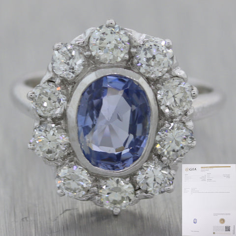 GIA Oval Shape 1.89ct Brilliant Cut Sapphire 14k White Gold 1.50ct Diamond Ring