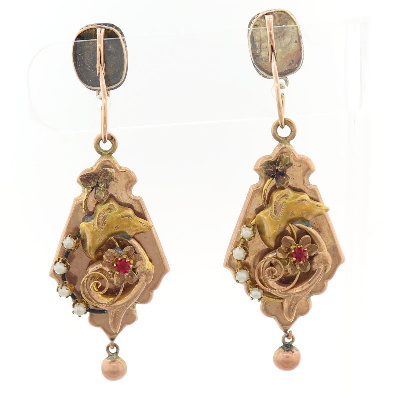 1860's Antique Victorian 12k Yellow Gold Pearl & Red Stone Dog Dangle Earring