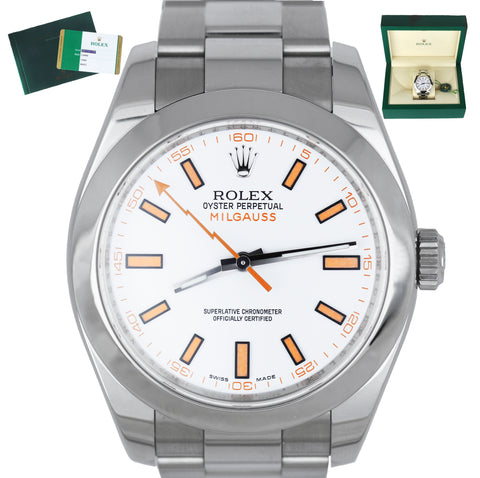MINT UNPOLISHED 2019 Rolex Milgauss White 40mm Orange 116400 Stainless Watch
