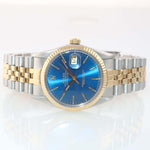 Blue Rolex DateJust 16013 two tone 18k Yellow Gold Steel Fluted Jubilee Watch