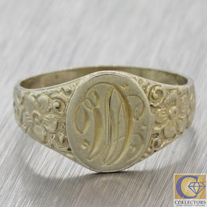 1930s Antique Art Deco Estate 14k White Gold Monogrammed Engraved Signet Ring F8