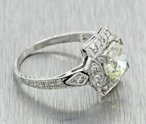 1920s Antique Art Deco Platinum 1.40ct OldMine Diamond Engagement Ring EGL T1