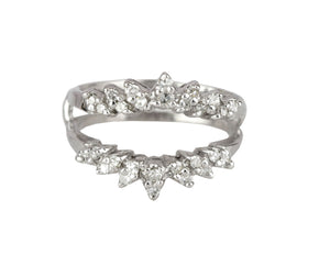 Women's Modern 14K White Gold 0.42ctw Diamond Enhancer Guard Wrap Insert Ring