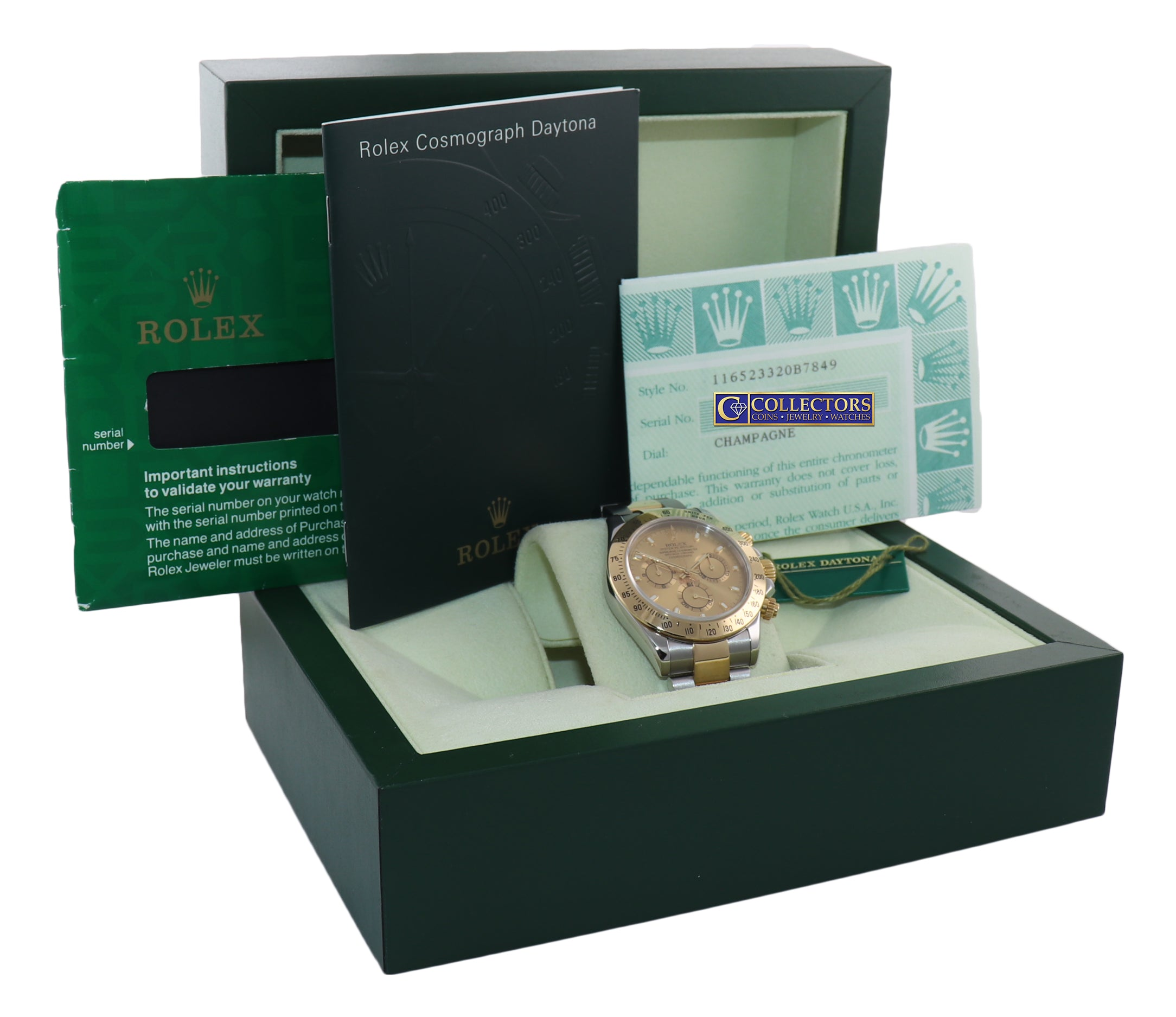 PAPERS Rolex Daytona 116523 Champagne Steel 18k Yellow Gold Two Tone Steel Watch