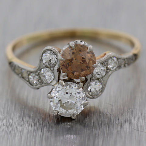 1920 Antique Edwardian 14k Yellow Gold & Platinum 1.75ctw Chocolate Diamond Ring