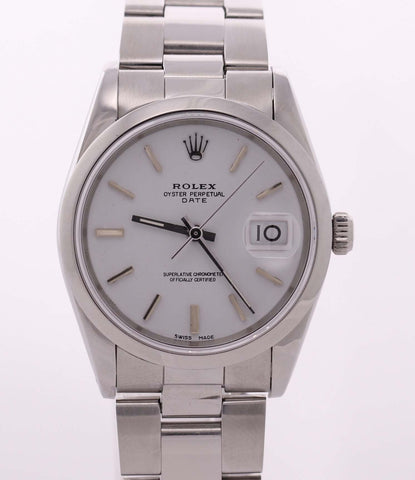 Rolex Date Oyster Perpetual Stainless Steel White Roman 15200 34mm Watch N8